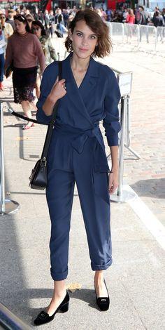 Alexa Chung wore a silk jumpsuit