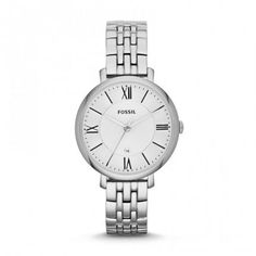 From our range of ladies watches by Fossil, this stainless steel bracelet watch has a round case and dial with Roman numeral quarter markers. It features a small date display to the centre and has hour, minute and second hands. Stainless Steel Watch, Stainless Steel Bracelet, Fossil Jacqueline Watch, Style Classique, Fossil Watches, Men's Watches, Luxury Watches, Smartwatch, Quartz Watch