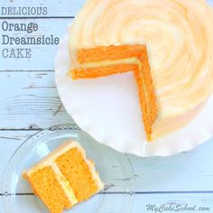 The BEST Orange Dreamsicle Cake Recipe by MyCakeSchool.com! You'll love this homemade Orange Dreamsicle Cake with Orange Cream Filling and Orange Cream Cheese Frosting!