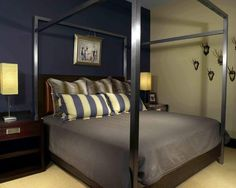 mens bedroom ideas contemporary bachelor bedroom ideas blue yellow wall color poster bed modern table lamps