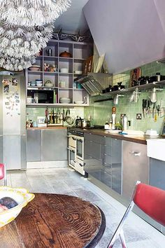 Check out these inspirational colourful kitchen design ideas Kitchen Colors, Kitchen Design, Open Shelves, Flooring, Open Shelving, Design Of Kitchen, Wood Flooring, Floor