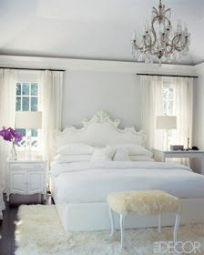 Rug and chair fabric! The Glam Pad: Glamorous White Bedrooms