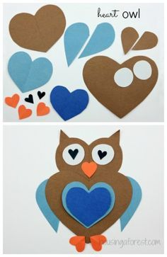 Heart Owl and a lot of other animals made from hearts! (pinned by Super Simple Songs) #educational #resources for #children