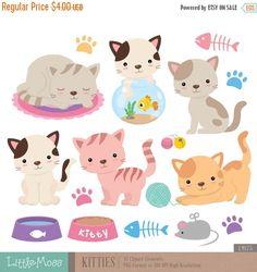30% OFF SALE Kitties Digital Clipart Cat Clipart by LittleMoss