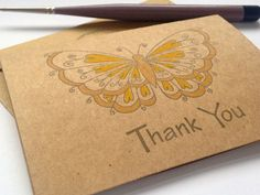 Hand Painted Yellow Butterfly Thank you Cards £3.75