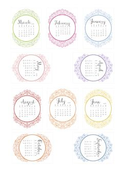 Free Ornate 2016 Calendar Cards from scrappystickyinkymess