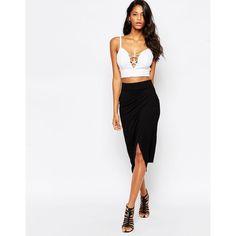 ASOS Asymmetric Wrap Pencil Skirt ($27) ❤ liked on Polyvore featuring skirts, black, black wrap skirt, black skirt, black knee length pencil skirt, elastic waist pencil skirt and high waisted skirts