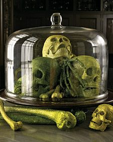 For a bone-chilling Halloween, greet your guests with grinning skulls and spooky skeleton decorations. And other skeleton Halloween decor. Martha Stweart