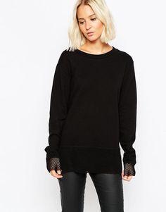 Cheap Monday | Cheap Monday Mesh Hem Sweatshirt at ASOS
