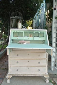 Luxe antique chalk painted & gilded drop by HappyLifeFurnishings 31 wide 40 high 20 deep Annie Sloan Furniture, Furniture Wax, Chalk Paint Furniture, Hand Painted Furniture, Repurposed Furniture, Shabby Chic Furniture, Furniture Makeover, Furniture Ideas, Desk Makeover