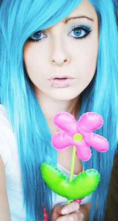Beautiful And Delicate Shy Emo Teen With Colored Hair