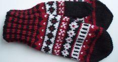 Punamustavalkoiset kirjoneulelapaset on tehty 7 Veljestä -langasta, koko on naisten. Puikot nro 3,5 ja 4 tai käsialan mukaan.  Tarvikke... Knitted Gloves, Knitting Socks, Fingerless Gloves, Knit Socks, Drops Design, Baby Booties, Knitting Patterns, Knit Crochet, Ideas