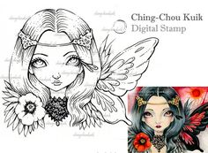 Crimson Moon - timbro digitale istantanea Scarica / papavero farfalla arte Fantasy di Ching-Chou Kuik
