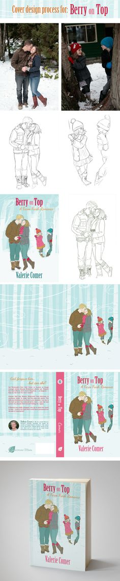 This is how I designed the custom illustrated cover for Berry on Top, a Farm Fresh Romance by Valerie Comer | The Book Cover Bakery