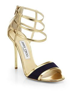 JIMMY CHOO Tolka Mirror Leather & Suede Sandals
