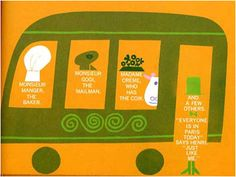 """Illustration from the book """"Henry's Walk to Paris"""" by Leonore Klein, illustrated by Saul Bass in 1962. The artist has used the words of the story to make up the faces of the characters."""