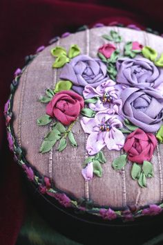 Anne Davies~ Ideas for stitching- Stitching Retreat July 2015 . . . Silk Ribbon Embroidery on Satin Box