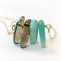 Smoky Quartz Amazonite Necklace Blue and Brown Beadbar Jewelry Colorblock Gemstone Jewellery Spike Gold Chain Point Arrow Spike N-338 339