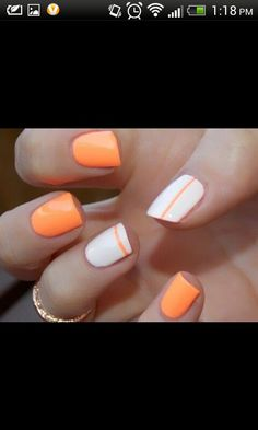 Easy Nail Design. Its super cute. I tried this look sing a pink line on the thumb and ring finger.