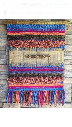 Woven wall hanging by Telaresyflecos on Etsy Weaving Textiles, Tapestry Weaving, Loom Weaving, Hand Weaving, Weaving Designs, Weaving Projects, Types Of Weaving, Tear, Woven Wall Hanging