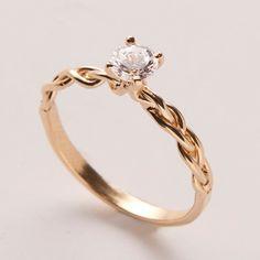 Braided Engagement Ring  14K Gold and Diamond by doronmerav, $1180.00