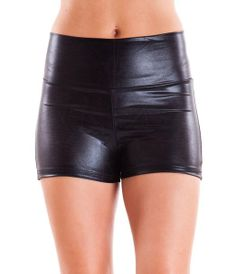 Black Ladies High-Waist Liquid Shorts