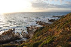Green hills and rocky cliffs at Montana De Oro State Park