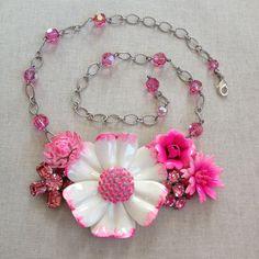 Repurposed vintage enamel flower necklace by ChicMaddiesBoutique