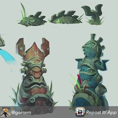 Environment assets for Sanctum Falls. They worship water and froggies. by gorrem Game Concept Art, Character Concept, Character Design, Prop Design, Game Design, Game Art, Character Illustration, Illustration Art, Mobile Art