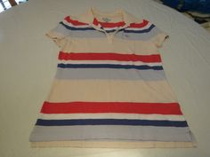 Tommy Hilfiger TH striped Polo womens cotton shirt top M EUC pre owned*^ #TommyHilfiger #PoloShirt #Casual