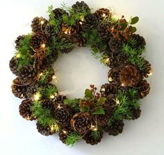 75 Fun and Inexpensive DIY Easter Crafts for Kids, Preschoolers and Toddlers DIY Pinecone Wreath for christmas crafts Christmas Wreath Image, Christmas Pine Cones, Rustic Christmas, Handmade Christmas, Christmas Wreaths, Christmas Crafts, Christmas Lights, Christmas Centerpieces, Christmas Decorations