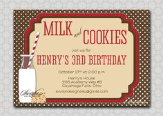Cookies and Milk Invitation  birthday party by SwishDesigns, $15.00