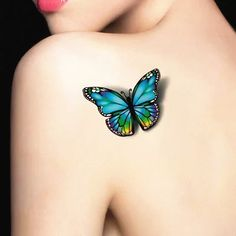 Colorful 3D Butterfly Flash Tattoo Arm Sticker 19*9cm Waterproof Henna Tatoo Summer Style Temporary Body Art Tatto FREE SHIPPING