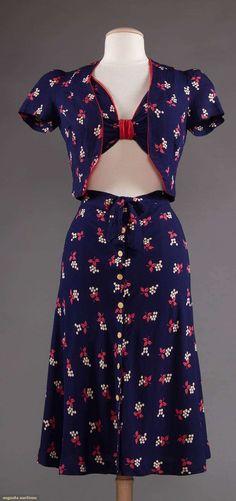 Beachwear, rayon, probably American, 1930 to 1940s