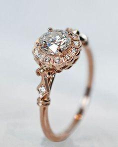 pretty vintage rose gold diamond wedding engagement rings   Do it ...