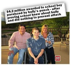 This is an INSPIRING story of Sawyer Rosenstein, for two reasons: The college student has incredible positive energy, and determination - and has co-founded a space exploration website. And if you/ your child is threatened at school - DOCUMENT and keep records.... #EveryoneMatters #bully #School #bullying #SawyerRosenstein #Paralyzed #Money #Settlement #Punch #AntiBully