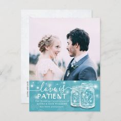 Love is Patient Floral Wedding Postponement Photo Announcement Postcard birthday for best friend, best friend tatooes, diy presents for friends #bestfriend #bestfriends #bestfriendgoals, christmas diy, diy christmas decorations, diy christmas ornaments, christmas table decor Beautiful Wedding Invitations, Wedding Invitation Design, Bridal Shower Invitations, Invites, Announcement Cards, Wedding Announcements, Postcard Template, Love Is Patient, Blue Leaves