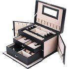 SONGMICS Black Leather Jewelry Box Watch Storage Organizer w/ Lock Mirror and Mini Travel Case UJBC121B