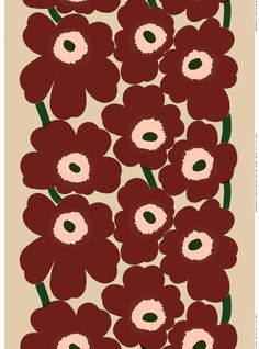 This printed cotton and linen blend fabric carries the classic Unikko pattern in beige, reddish brown and peach.Marimekko's famous poppy pattern Unikko was born in 1964 in a time when the design house's collections featured mostly abstract pri Marimekko Wallpaper, Marimekko Fabric, Linen Fabric, Cotton Linen, Motif Vintage, Poppy Pattern, Fabric Online, Cool Patterns, Wall Collage