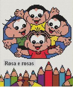 Família e Arte: turma da monica em ponto cruz