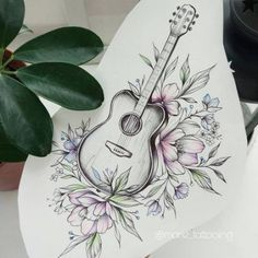 Guitar Tattoo Idea by Marie Su # tattoos - diy tattoo images - Best Tattoo Share Line Art Tattoos, Music Tattoos, Rose Tattoos, Flower Tattoos, Body Art Tattoos, Guitar Sketch, Guitar Drawing, Guitar Art, Ukulele Art