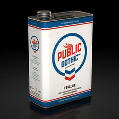 Lovely packaging to promote Public Gothic, a condensed, vintage and industrial font family.