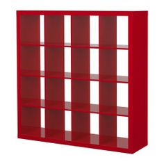 """Ikea Expedit Bookcase Room Divider Cube Display High Gloss Red by Ikea. $259.00. Product dimensions Width: 58 5/8 """" Depth: 15 3/8 """" Height: 58 5/8 """" Max load/shelf: 29 lb  Good to know This furniture must be secured to the wall with the enclosed anti-topple device. Different wall materials require different types of fasteners. Use fasteners suitable for the walls in your home (not included). Two people are needed to assembly this furniture.  Main parts: Particleb..."""