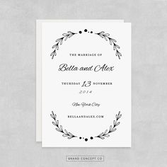 INSTANT DOWNLOAD Printable wedding invitation by BrandConceptCo