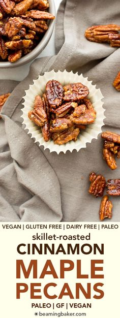 Skillet-Roasted Maple Cinnamon Pecans, a 6-ingredient recipe for warm, cozy skillet-roasted pecans glazed with coconut sugar and cinnamon.