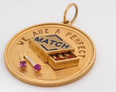 "Circa 1970s Vintage Match Box Pendant, Lover's Charm ""We Are A Perfect Match"", VJ #41 by vedajewels on Etsy https://www.etsy.com/listing/469885831/circa-1970s-vintage-match-box-pendant"