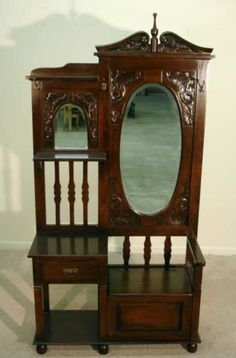 Antique HALL TREE STAND BENCH w/ drawer, bevelled mirrors, hooks | art, collectibles | City of Toronto | Kijiji