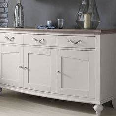 The Montreux Grey Two-Tone Wide Sideboard has a traditional and graceful look. With a grey washed oak and soft grey finish this wide sideboard is sure to look great in all interiors. Sideboard Furniture, Furniture Makeover, Blush And Grey Living Room, White Bedroom Furniture, Nightstands, Cabinet, Dining, Interior, Home Decor