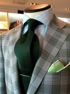 Suit and tie fixation - dormeuil:   A dash of moss green in a wool & silk...