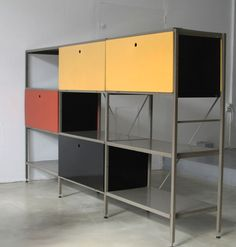 Wim Rietveld; Painted Metal Storage System for Gispen Culemborg, 1954.